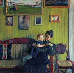 Boris Mikhaylovich Kustodiev - Portrait of Y.E. Kustodieva with daughter Irina