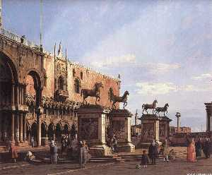 Giovanni Antonio Canal (Canaletto) - Capriccio: The Horses of San Marco in the Piazzetta