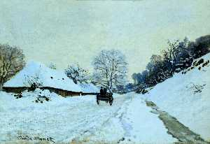 Claude Monet - Cart on the Snow Covered ..