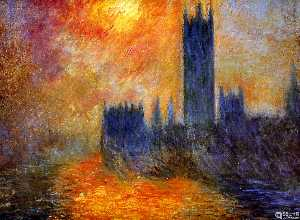 Claude Monet - House of Parliament Sun