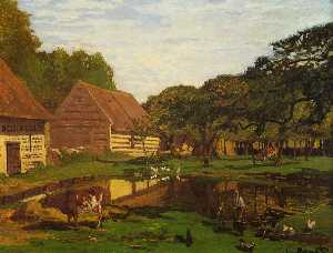 Claude Monet - A Farmyard in Normandy
