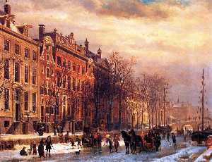 Cornelis Springer - View on Heerengracht in Amsterdam