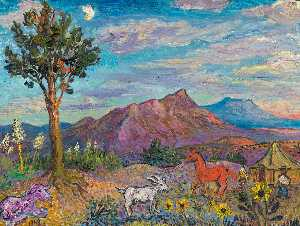 David Davidovich Burliuk - Landscape in New Mexico