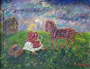David Davidovich Burliuk - A girl watering horse