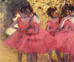 Edgar Degas - The Pink Dancers, Before the Ballet