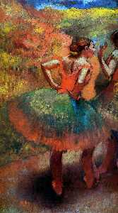 Edgar Degas - Two Dancers in Green Skirts, Landscape Scener