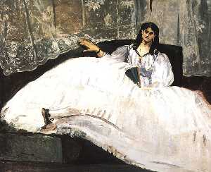 Edouard Manet - Jeanne Duval, Baudelaire-s Mistress, Reclining (Lady with a Fan)
