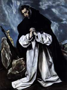 El Greco (Doménikos Theot.. - St. Dominic praying