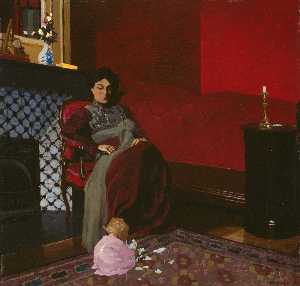 Felix Vallotton - Interior Red Room with Woman and Child