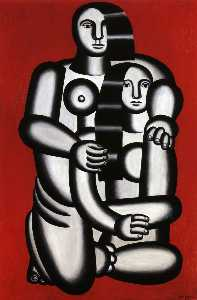 Fernand Leger - Two Figures, naked on red..