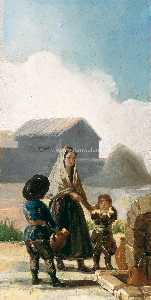 Francisco De Goya - A woman and two children by a fountain