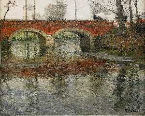 Frits Thaulow - French River Landscape with a ..