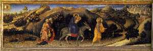 Gentile Da Fabriano - Adoration of the Magi Altarpiece, left hand predella panel depicting Rest during The Flight into Egypt