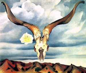 Georgia Totto O'Keeffe - Ram's Head, White Hollyho..