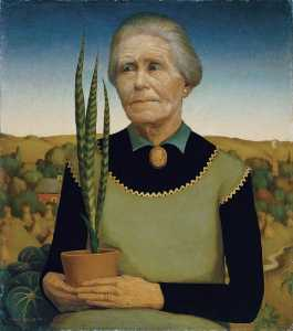 Grant Wood - Woman with Plants