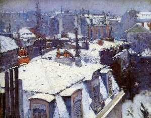 Gustave Caillebotte - View of Roofs (Snow Effec..