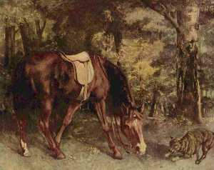 Gustave Courbet - Horse in the Woods