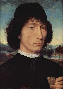 Hans Memling - Portrait of a Man holding a coin of the Emperor Nero