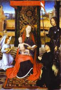 Hans Memling - The Virgin and Child with an Angel, St. George and a Donor