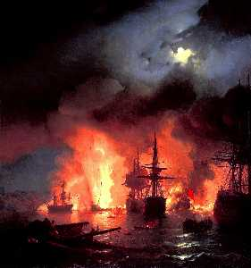 Ivan Aivazovsky - Battle of Cesme at Night
