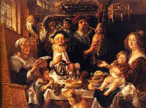 Jacob Jordaens - As the Old Sang, So the y..