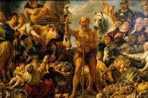 Jacob Jordaens - Diogenes Searching for an..