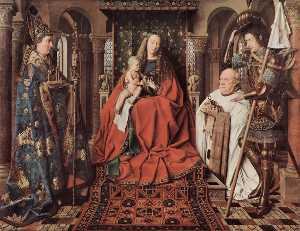 Jan Van Eyck - Madonna and Child with Canon Joris van der Paele