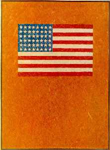 Jasper Johns - Flag on Orange Field