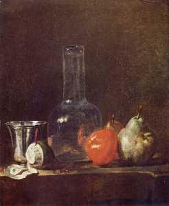 Jean-Baptiste Simeon Chardin - Still Life with Glass Flask and Fruit