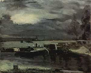 John Constable - Boats on the Stour
