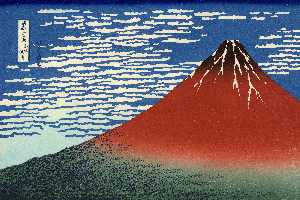 Katsushika Hokusai - Fuji, Mountains in clear Weather (Red Fuji)