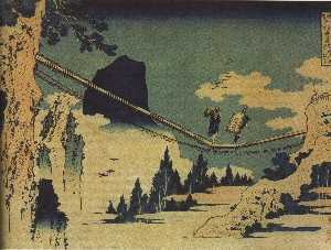 Katsushika Hokusai - The Suspension Bridge Bet..