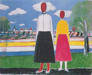 Kazimir Severinovich Malevich - Two Figures in a Landscape