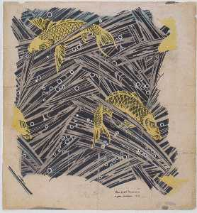 Koloman Moser - Fabric design with trout dance for Backhausen