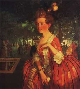 Konstantin Somov - A Young Girl in a Red Dre..
