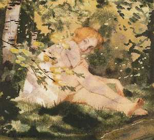 Konstantin Somov - Girl Under the Sun