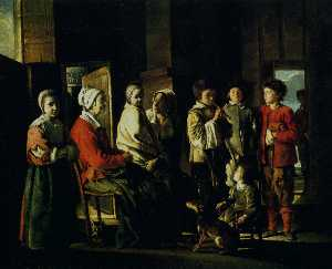 Antoine (Brother) Le Nain - Country interior with the young player of flageolet