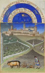 Limbourg Brothers - March: Peasants at Work on a Feudal Estate