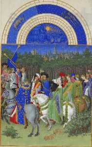 Limbourg Brothers - Facsimile of May: Courtly Figures on Horseback
