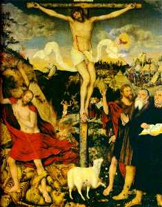 Lucas Cranach The Elder - Christ as Savior with Martin Luther