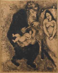 Marc Chagall - Circumcision prescribed by God to Abraham (Genesis, XVII, 10)