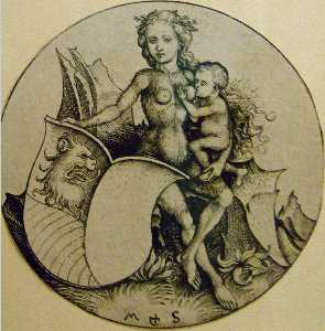 Martin Schongauer - Wild woman with shield