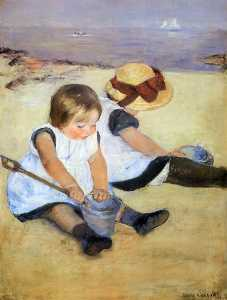 Mary Stevenson Cassatt - Children Playing On The B..