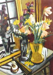 Max Beckmann - Floral still life with mi..