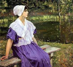 Mikhail Nesterov - Girl by a Pond (Portrait ..