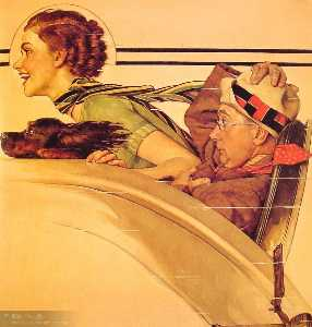 Norman Rockwell - Couple in Rumble Seat