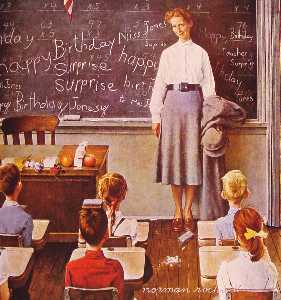 Norman Rockwell - Teacher-s Birthday