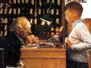 Norman Rockwell - The watchmaker of Switzer..