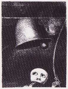 Odilon Redon - A funeral mask tolls bell