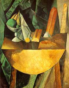 Pablo Picasso - Bread and dish with fruits on the table